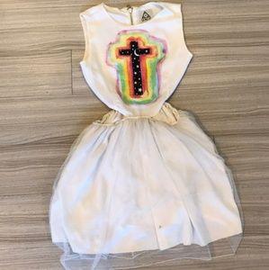 UNIF White Cut Out Skater Rainbow Cross Dress